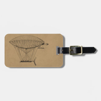 Vintage Hot Air Balloon Retro Old Boat Balloons Luggage Tag
