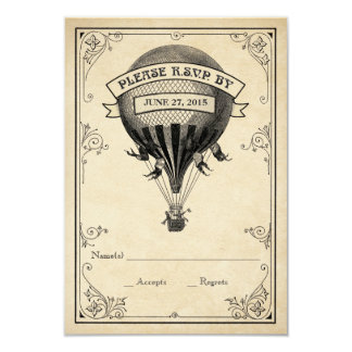 Vintage Hot Air Balloon Wedding RSVP 9 Cm X 13 Cm Invitation Card