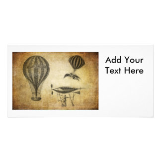 Vintage Hot Air Balloons and Dirigibles Custom Photo Card