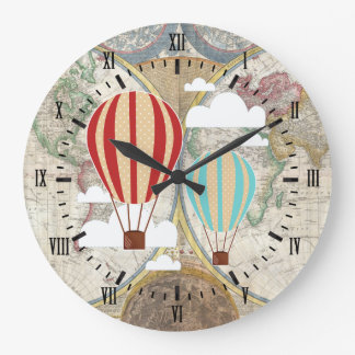 Vintage Hot Air Balloons Antique World Map Large Clock