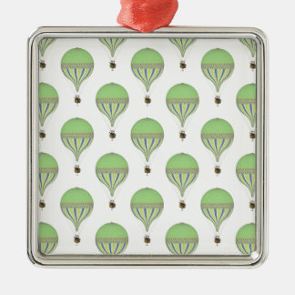Vintage Hot Air Balloons in Lt Green Yellow Blue Christmas Ornament