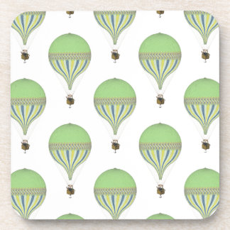 Vintage Hot Air Balloons in Lt Green Yellow Blue Coaster