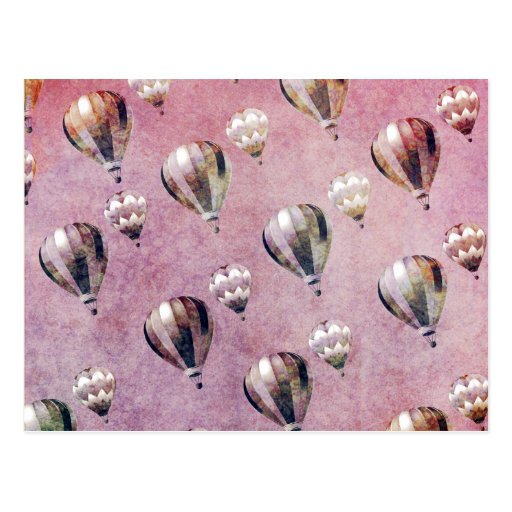 Vintage Hot Air Balloons Retro Floral Damask Post Cards