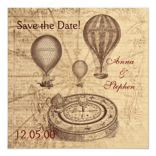 Vintage hot air balloons Save the Date Card