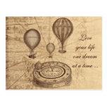Vintage hot air balloons - steampunk post card