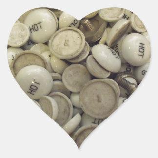 Vintage Hot and Cold Porcelain Knobs Heart Sticker