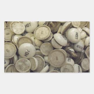 Vintage Hot and Cold Porcelain Knobs Rectangular Sticker