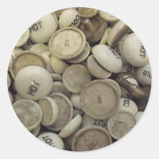 Vintage Hot and Cold Porcelain Knobs Round Sticker
