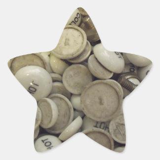 Vintage Hot and Cold Porcelain Knobs Star Sticker