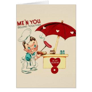 Vintage Hot Dog Stand Valentine's Day Card