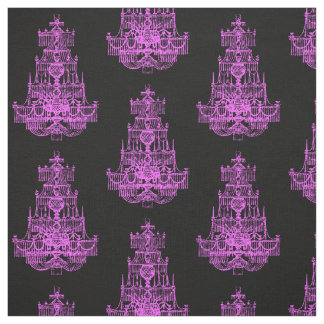 Vintage Hot Pink Chandelier Pattern Fabric