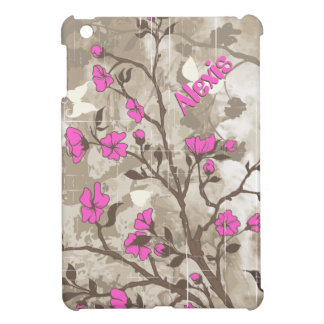 Vintage hot pink flowers beige, taupe floral cover for the iPad mini