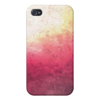 Vintage Hot Pink Grunge Floral Multicolor Pattern Case For iPhone 4