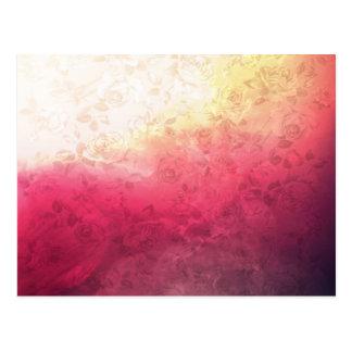 Vintage Hot Pink Grunge Floral Multicolor Pattern Postcard