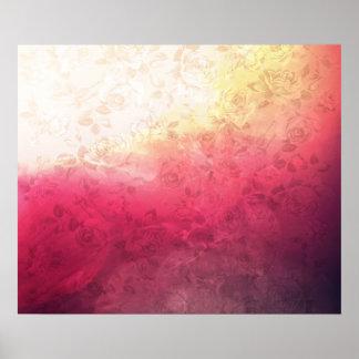 Vintage Hot Pink Grunge Floral Multicolor Pattern Poster