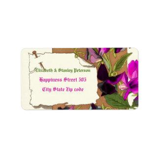 Vintage hot pink sweet pea flowers wedding label address label