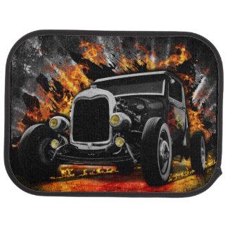 Vintage Hot Rod In Flames Car Mat