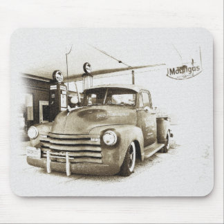 Vintage Hot Rod Pickup and Gas Pumps Mouse Mat
