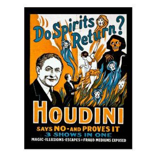 Vintage Houdini Advertisement - Do Spirits Return Post Card