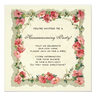 Vintage Housewarming, Antique Roses Flowers Floral 13 Cm X 13 Cm Square Invitation Card