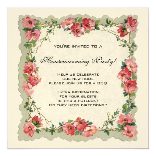 Vintage Housewarming, Antique Roses Flowers Floral Announcement