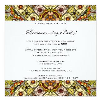 Vintage Housewarming, Garden Flowers Butterflies 13 Cm X 13 Cm Square Invitation Card