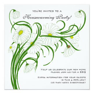 Vintage Housewarming, Gerber Daisy Floral Flowers 13 Cm X 13 Cm Square Invitation Card