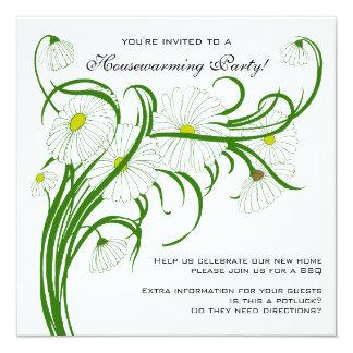 Vintage Housewarming, Gerber Daisy Floral Flowers Card