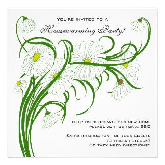 Vintage Housewarming, Gerber Daisy Floral Flowers Invite