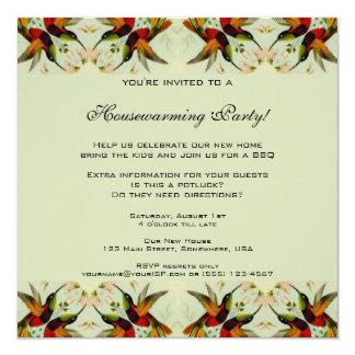 Vintage Housewarming, Hummingbirds Floral Flowers 13 Cm X 13 Cm Square Invitation Card