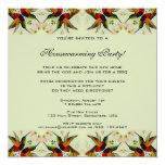 Vintage Housewarming, Hummingbirds Floral Flowers Custom Announcement