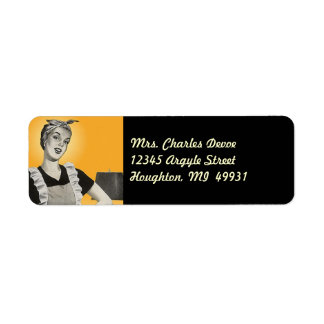 Vintage Housewife Vacuuming Return Address Label