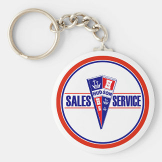 Vintage Hudson service sign Basic Round Button Key Ring