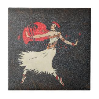 Vintage Hula Dancer | Retro Hawaiian Girl Small Square Tile