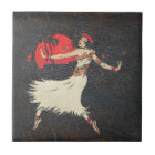 Vintage Hula Dancer | Retro Hawaiian Girl Tile