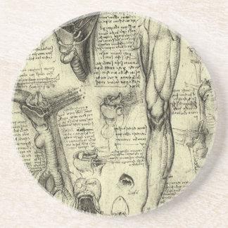 Vintage Human Anatomy Larynx Leg Leonardo da Vinci Coaster