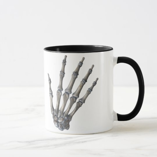 Vintage Human Anatomy Science, Skeleton Hands Mug