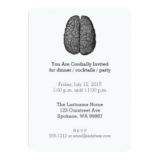 Vintage Human Brain Illustration 13 Cm X 18 Cm Invitation Card