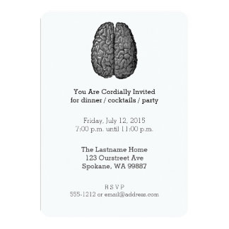 Vintage Human Brain Illustration Card