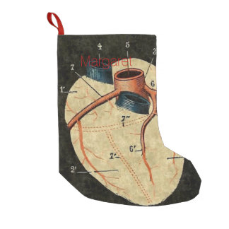 Vintage Human Heart Diagram Small Christmas Stocking
