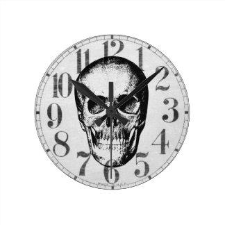 Vintage Human Skull Face Round Clock
