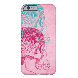 Vintage Human Skull Tattoo Turquoise Pink Fuchsia Barely There iPhone 6 Case