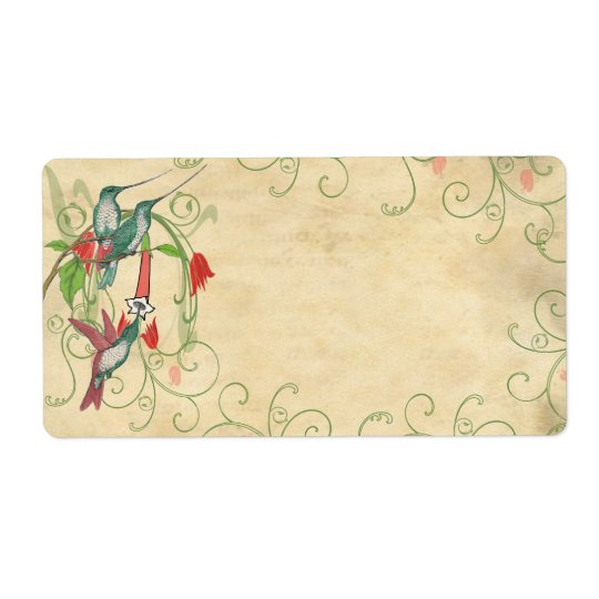 Vintage Humingbird Swirl Christmas Address Labels