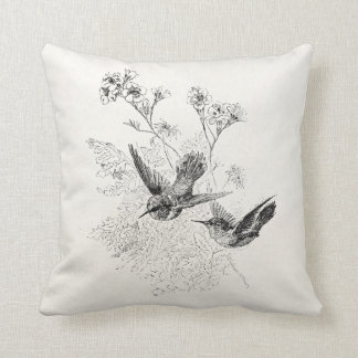 Vintage Hummingbird Antique Birds Template Cushion