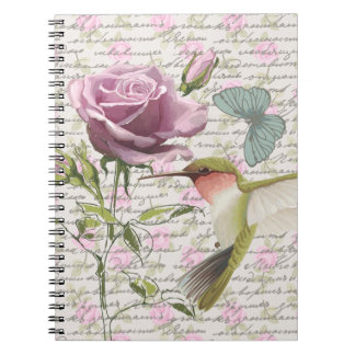Vintage Hummingbird Butterfly and Rose Notebook