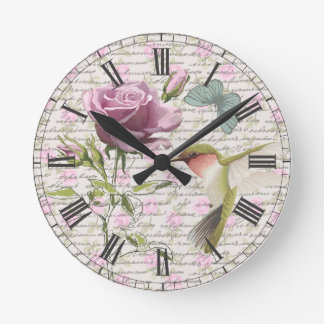Vintage Hummingbird Butterfly and Rose Round Clock