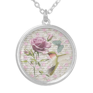 Vintage Hummingbird Butterfly and Rose Silver Plated Necklace