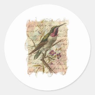 Vintage Hummingbird Classic Round Sticker
