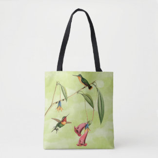 Vintage Hummingbird Illustration on Green Tote Bag