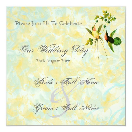 Vintage Hummingbird Wedding Invitations